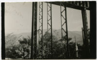 Beard House, view of trees from interior construction, Altadena, California, 1934