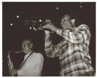 Oscar Brashear on trumpet and Harold Land on tenor saxophone, Los Angeles [descriptive]