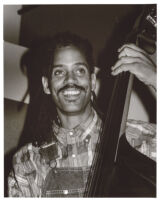 Oscar Brown III playing double bass, Los Angeles, October 1995 [descriptive]