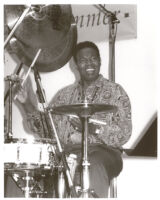 Ndugu (Leon) Chancler playing drums in Los Angeles [descriptive]