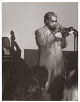 Art Farmer playing the trumpet in Los Angeles, California [descriptive]