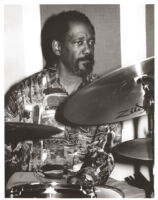 Sherman Ferguson playing the drums, Los Angeles, February 1996 [descriptive]