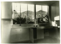 Beard House, view of kitchen looking out to surrounding hills, Altadena, California, 1934