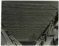 Beard House, construction, view of steel beams, Altadena, California, 1934