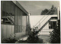 Beard House, side view of back exterior and patio stairs, Altadena, California, 1934