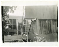 Beard House, exterior back of house with view of stairs leading down from patio, Altadena, California, 1938