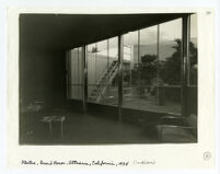 Beard House, view of interior looking out to patio stairs and landscape, Altadena, California, 1934