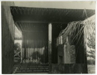 Beard House, construction, interior with view of fireplace, Altadena, California, 1934