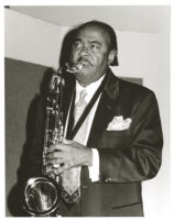 Benny Golson playing the tenor sax in Los Angeles [descriptive]