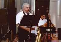 Vinny Golia playing bass clarinet and Michael Elizondo on double bass, Los Angeles, August 1998 [descriptive]