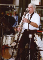 Vinny Golia playing bass clarinet, Los Angeles, August 1998 [descriptive]