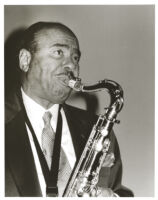 Benny Golson playing the sax in Los Angeles [descriptive]