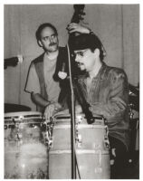 Jerry González playing the conga drums, Los Angeles, September 1996 [descriptive]