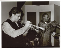 Tim Hagans and Marcus Printup playing trumpet, Los Angeles [descriptive]