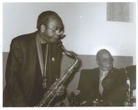 "Jimmy Heath on saxophone with Albert ""Tootie"" Heath on drums in Los Angeles [descriptive]"