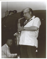 Red Holloway playing the alto saxophone, Los Angeles, September 1999 [descriptive]