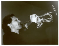 Mark Isham playing trumpet in Los Angeles, April 1998 [descriptive]