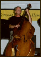 Unidentified double bass player at the Armand Hammer Museum [descriptive]