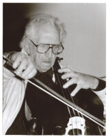 Fred Katz playing the cello in Los Angeles [descriptive]