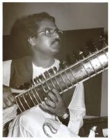 Jayant Kumar Das playing sitar in Los Angeles, January 1996 [descriptive]
