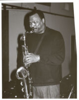 Ronnie Laws playing the tenor saxophone, Los Angeles, January 1999 [descriptive]