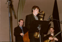 Darek Oles, Chuck Manning and Larry Koonse performing with the L.A. Jazz Quartet, Los Angeles, December, 2001 [descriptive].