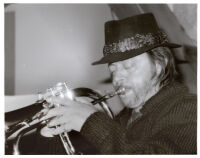 Chuck Mangione playing flugelhorn in Los Angeles [descriptive]