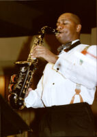 Branford Marsalis playing saxophone, Los Angeles [descriptive]