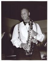 Branford Marsalis playing saxophone, Los Angeles [descriptive]