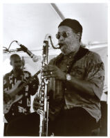 Bennie Maupin playing the bass clarinet in Los Angeles [descriptive]