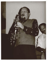 Jackie McLean playing the saxophone with an unidentified man, Los Angeles, October 1996 [descriptive]