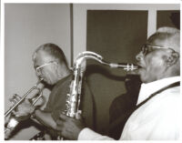 Teddy Edwards playing the tenor sax and Valery Ponomarev playing the trumpet, Los Angeles, August 1996 [descriptive]