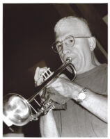 Valery Ponomarev playing the trumpet, Los Angeles, August 1996 [descriptive]