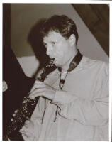 Chris Potter playing the soprano saxonphone in Los Angeles [descriptive]