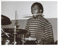 Clarence Penn plying the drums in Los Angeles [descriptive]