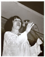 Ruth Price singing on stage, Los Angeles [descriptive]