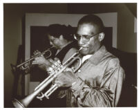 Marcus Printup and Tim Hagans playing trumpet, Los Angeles [descriptive]