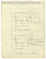 Architectural drawing, continuous lumiline light strip in corner
