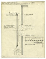 Architectural drawing, detail of lights behind steel sash at entrance
