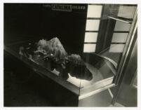 Catalina Island Ticket Office, view of model island through window, 1937