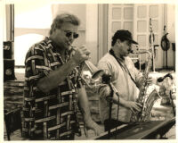 Steve Tavaglione playing the tenor sax and Jeff Elliott playing the flügelhorn, Los Angeles [descriptive]
