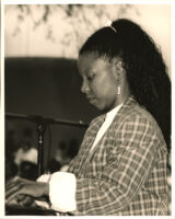 Patrice Rushen playing the piano, Los Angeles [descriptive]