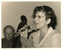 Janis Siegel singing and an unidentified man playing double bass, Los Angeles [descriptive]