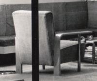 Rice House, view of chair through living room window, Richmond, Virginia, 1964