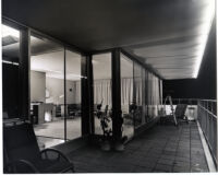 Rice House, night view of living room and balcony, Richmond, Virginia, 1964