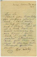 "Tolstoy, Leo, autograph letter signed to ""Dear Sir,"" [e.g. Griffith J. Griffith], Jasnaja Poliana 3/16 April 1910"