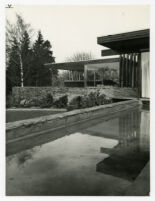 Rang House, oblique view of house and reflecting pool, Germany, 1961