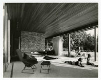 Rang House, view of interior looking out to the garden, Germany, 1961