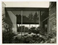 Rang House, view of living room from garden, Germany, 1961