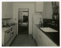 McIntosh House, kitchen with view through dining bay into garden, Los Angeles, California, 1939
